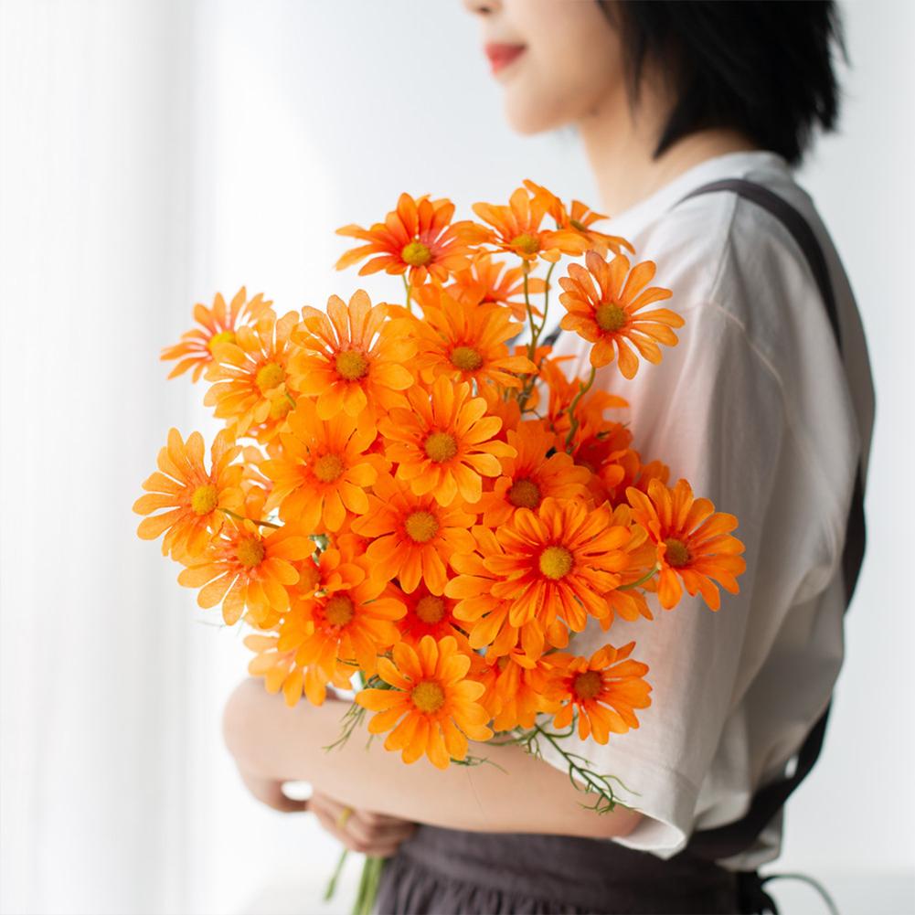 Simulation  Small  Daisy  Chamomile Fresh Fake Dried Chrysanthemum Living Room Decoration Orange