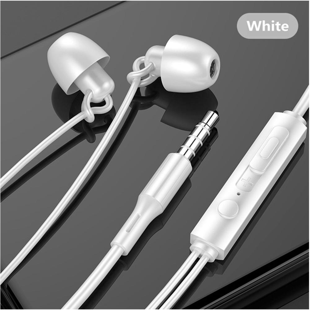 3.5mm Universal Sleep Headphones Soft Silicone Soundproof Noise-proof Headphones Sports Music Earphones white