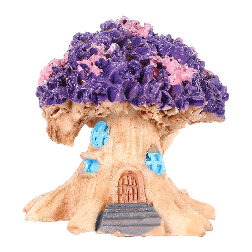 Micro-landscape  Ornament Flower Pot Decoration Resin Cartoon Construction Toy Diy Big Tree House Big tree house purple