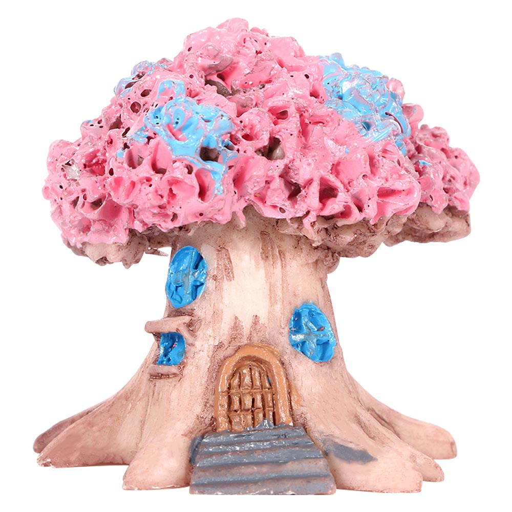 Micro-landscape  Ornament Flower Pot Decoration Resin Cartoon Construction Toy Diy Big Tree House Big tree house pink