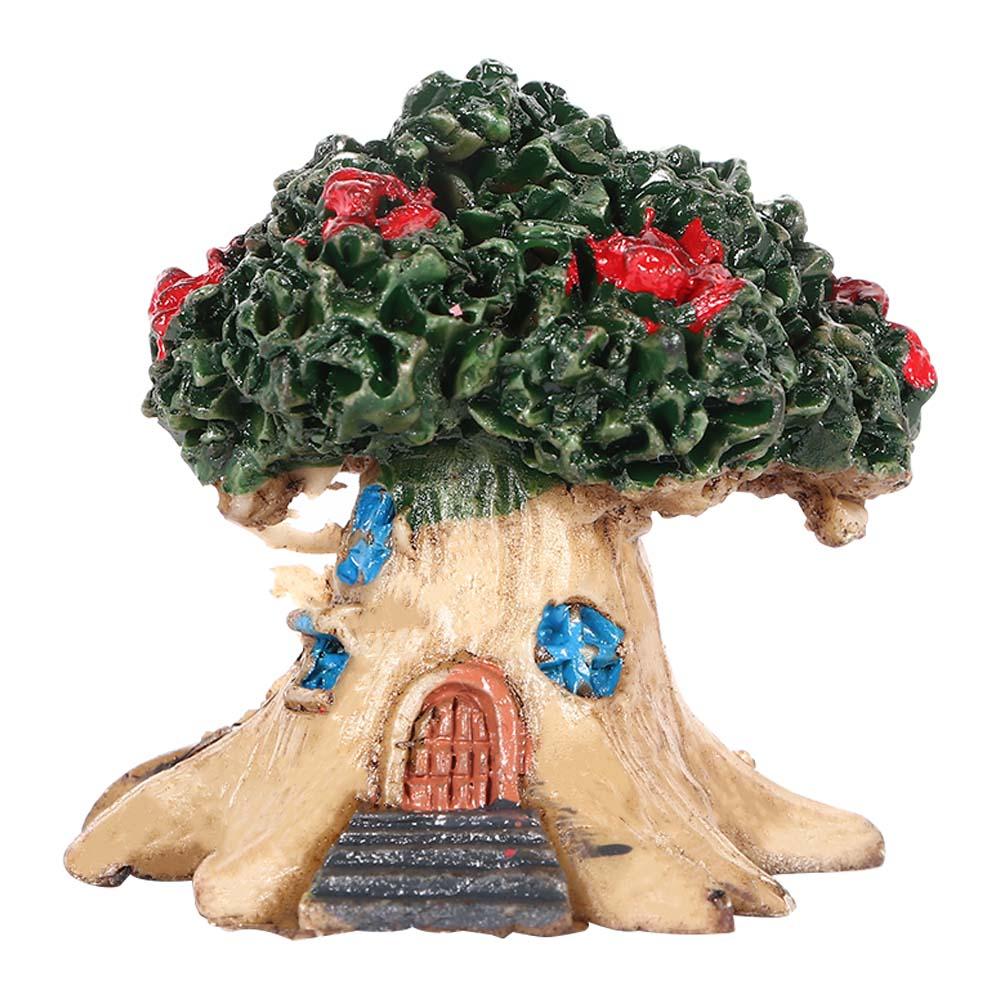 Micro-landscape  Ornament Flower Pot Decoration Resin Cartoon Construction Toy Diy Big Tree House Big tree house green