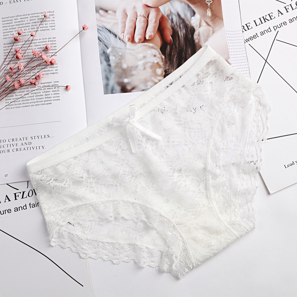 Girl Panties Lace Floral Briefs Bowknot Lady Lingerie Sexy Underwear Underpants white_One size