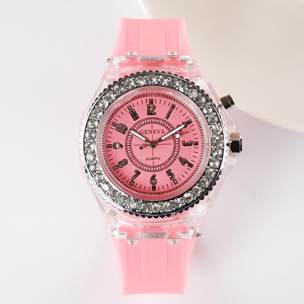 Fashion Casual Silica Gel Band Watch Lovers Luminous Quartz Watch Pink