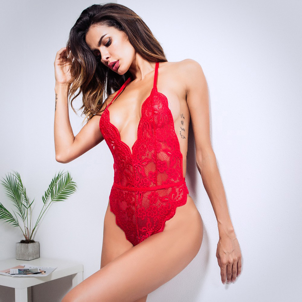 Women Lingerie Plus Size Sexy Hot Erotic Dress Lace Porno Underwear Transparent Sex Costumes red_L