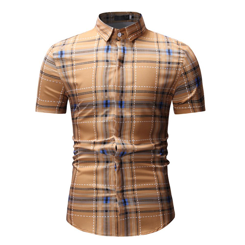 Men Spring Summer Short Sleeve Plaid Casual Slim Shirt Tops Khaki_M