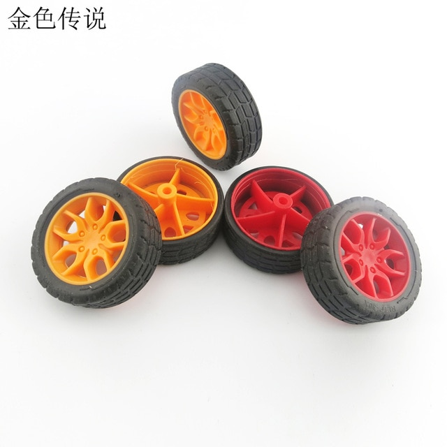 for F17665/6 JMT 30mm Red / Yellow Rubber Fine Texture Wheel Small Wheel DIY Toy Accessory for Car