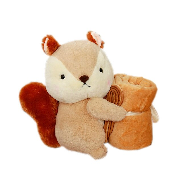 GD baby store Super Soft coral fleece plush squirrel Shape Baby Rolling air condictioning blanket children nap time school gift