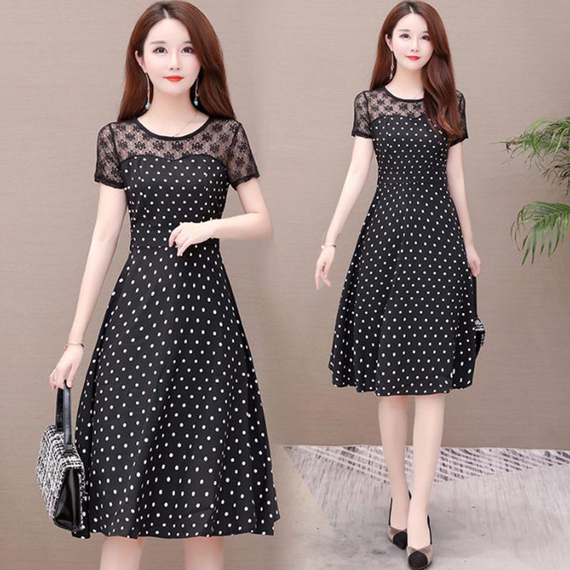 Women Summer Lace Patchwork Large Size Polka Dot Dress black_L