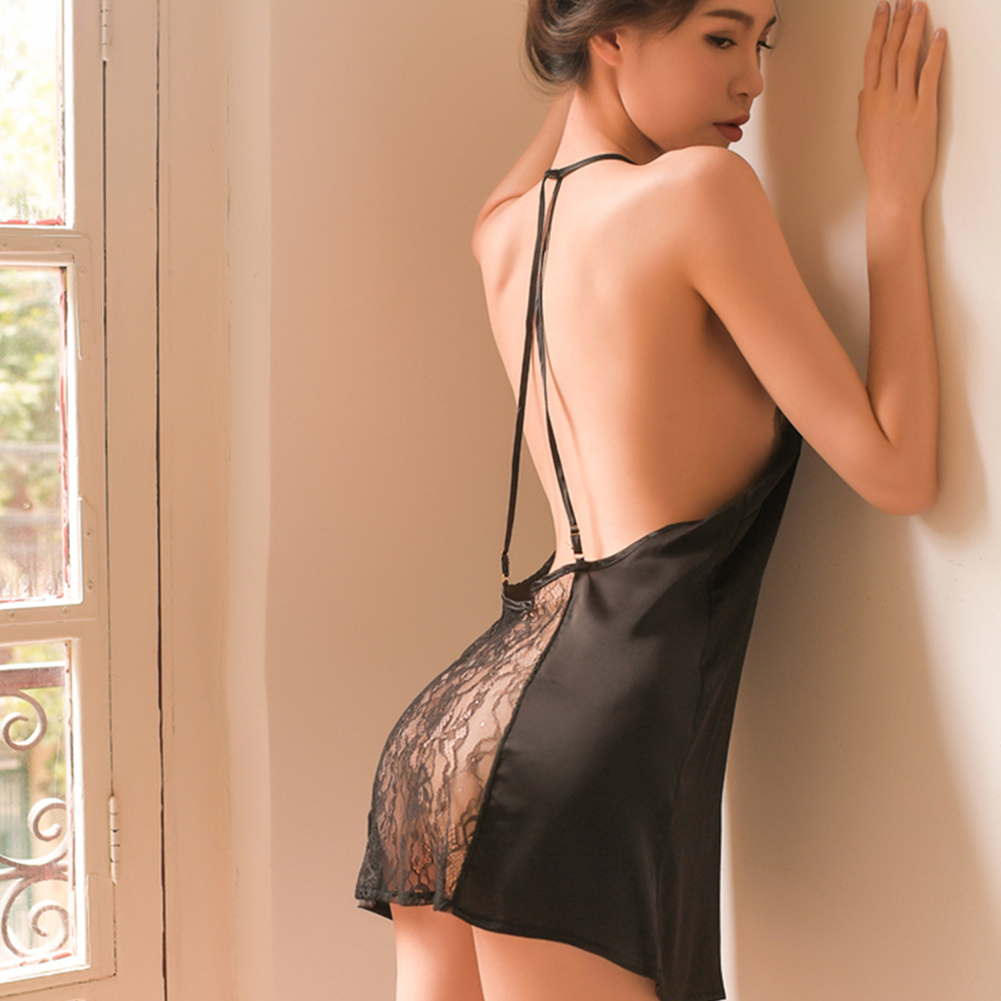 Woman Backless Sexy Underwears Sexual Deep V Collar Lace Sling Nightdress +T-back Suit  black_Free size