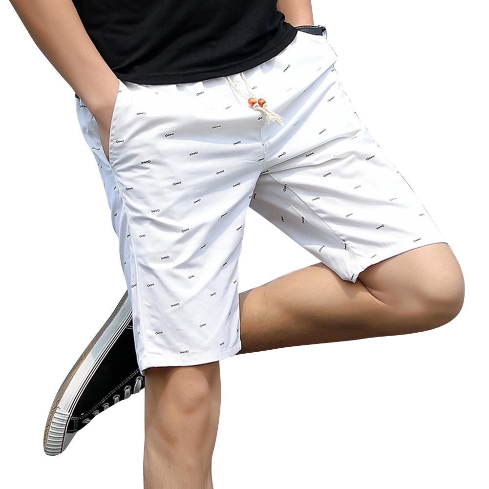 Men Cotton Middle Length Trousers Baggy Fashion Slacks Sport Beach Shorts White (fish bone)_XXL