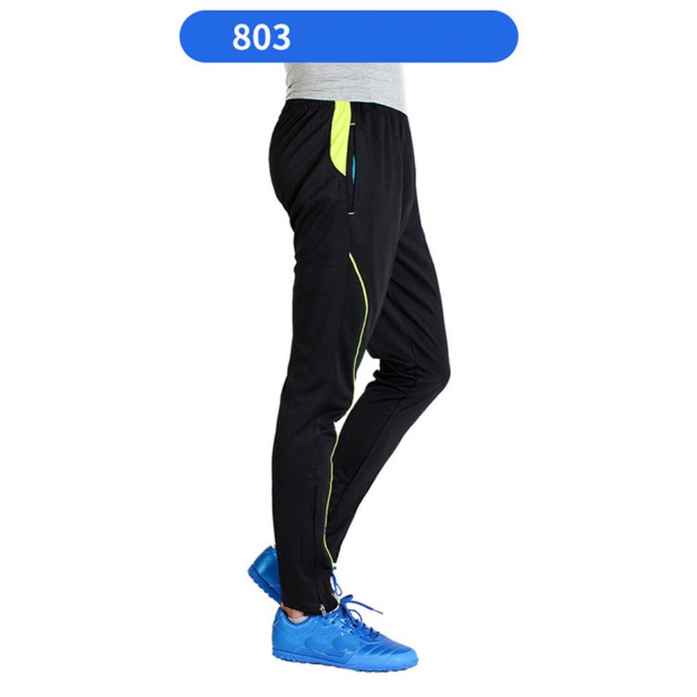 Men Athletic Training Pants Breathable Running Football Long Pants 803-fluorescent green_XL