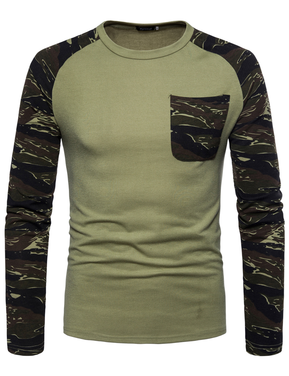 Man Stylish Long-Sleeve Sweater Camouflage Round Collar T-Shirt Tops Coat green_M