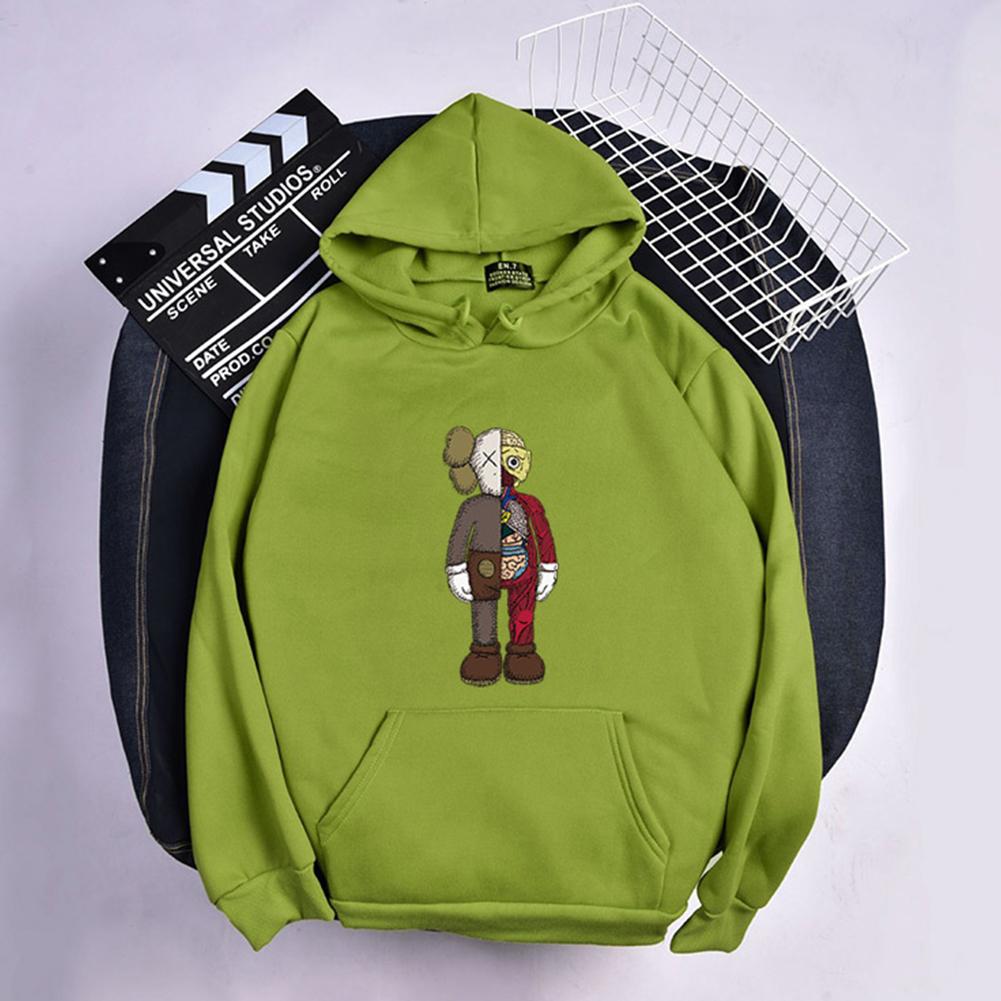 KAWS Men Women Hoodie Sweatshirt Cartoon Standing Doll Thicken Autumn Winter Loose Pullover Green_XL