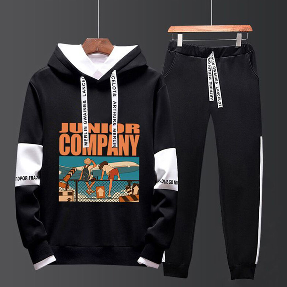 Two-piece Sweater Suits Long Sleeves Hoodie+Drawstring Pants Sports Wear for Man 4#_L