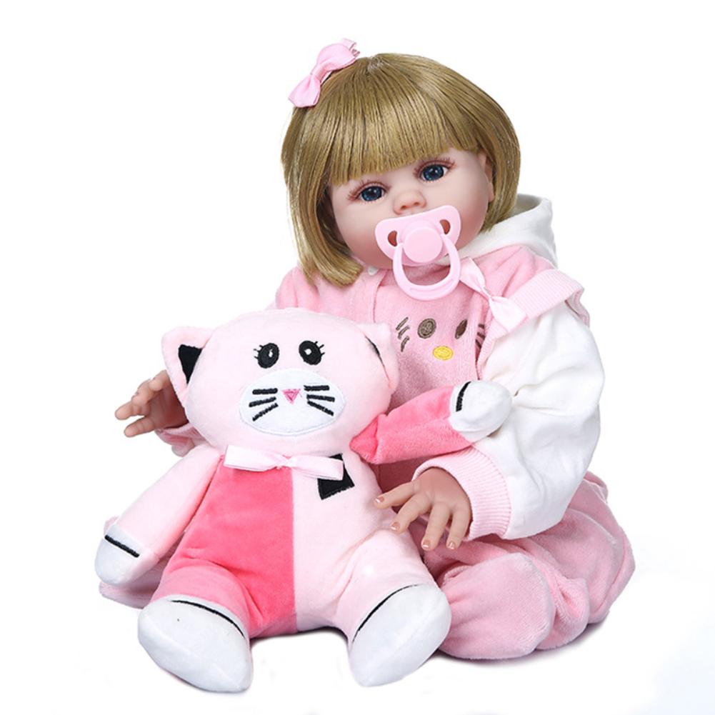 48CM Newborn Baby Shape Simulate Doll Nipple Bottle Plush Doll Toys Blue eyes