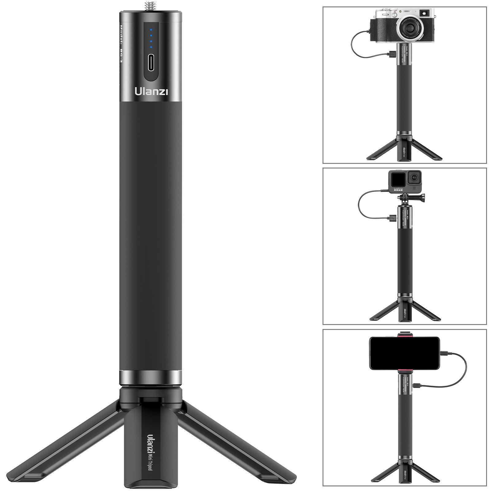 BG-3 1000mAh Mobile Charging Handle Multifunctional Portable Power Bank for Photography and Video black