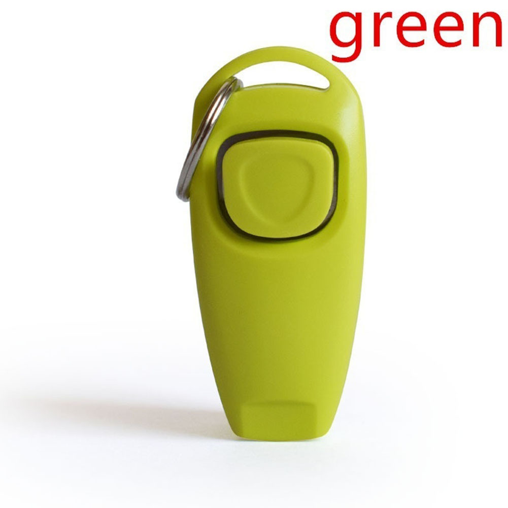 2 in 1 Multi-function Pets Clicker Whistle Dog Trainer Clicker with Keyring Pet Puppy Trainer Dog Flute + Clicker green