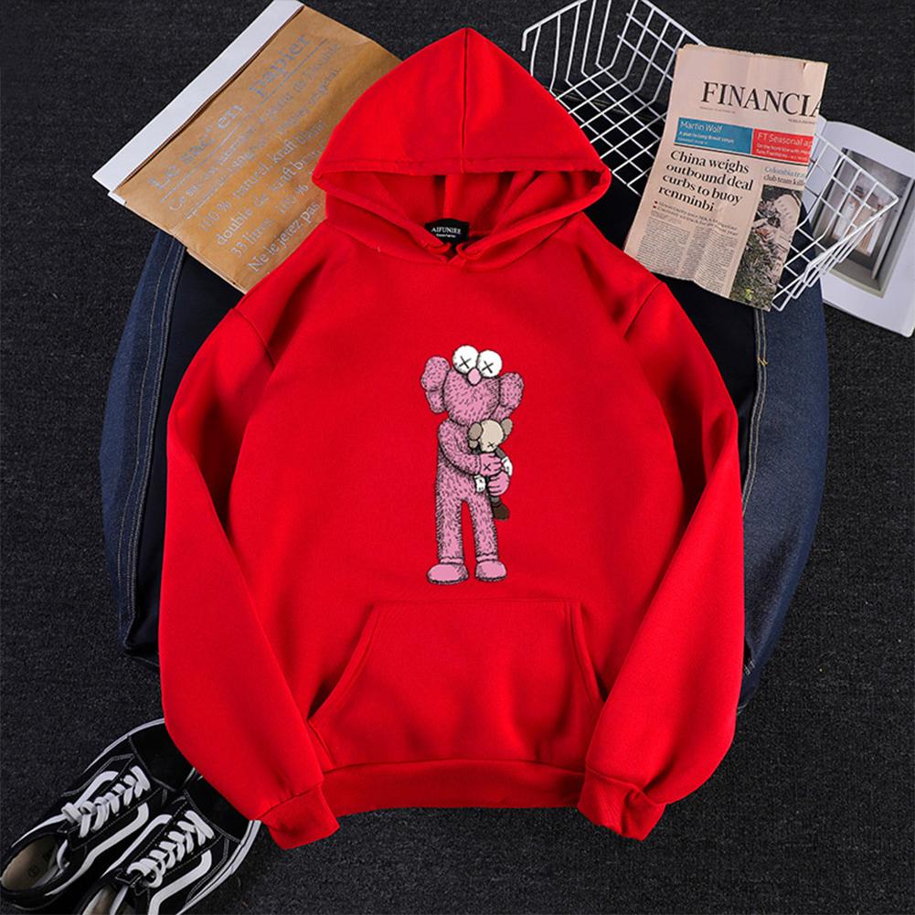 KAWS Men Women Hoodie Sweatshirt Holding Doll Cartoon Thicken Autumn Winter Loose Pullover Red_S