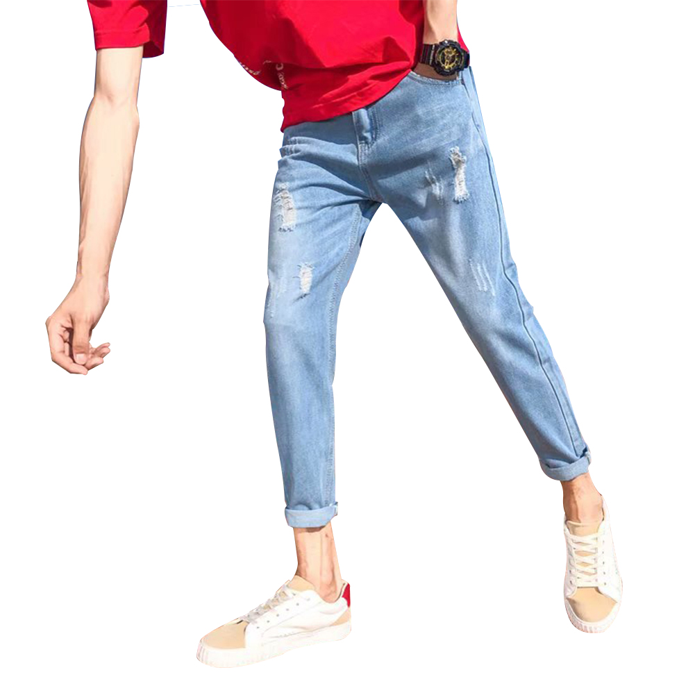 Men Slim Fit Stretch Handsome Ripped Casual Pants Young Jeans 035 light blue jeans_29