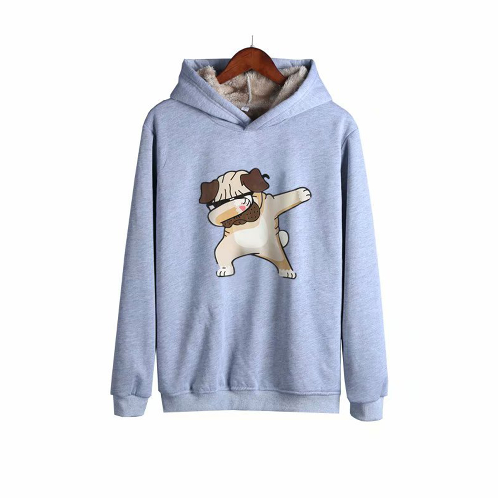 Men Autumn Winter Pullover Hooded Sweater Loose Long Sleeve Fleece Line Tops Hoodie 4#_L