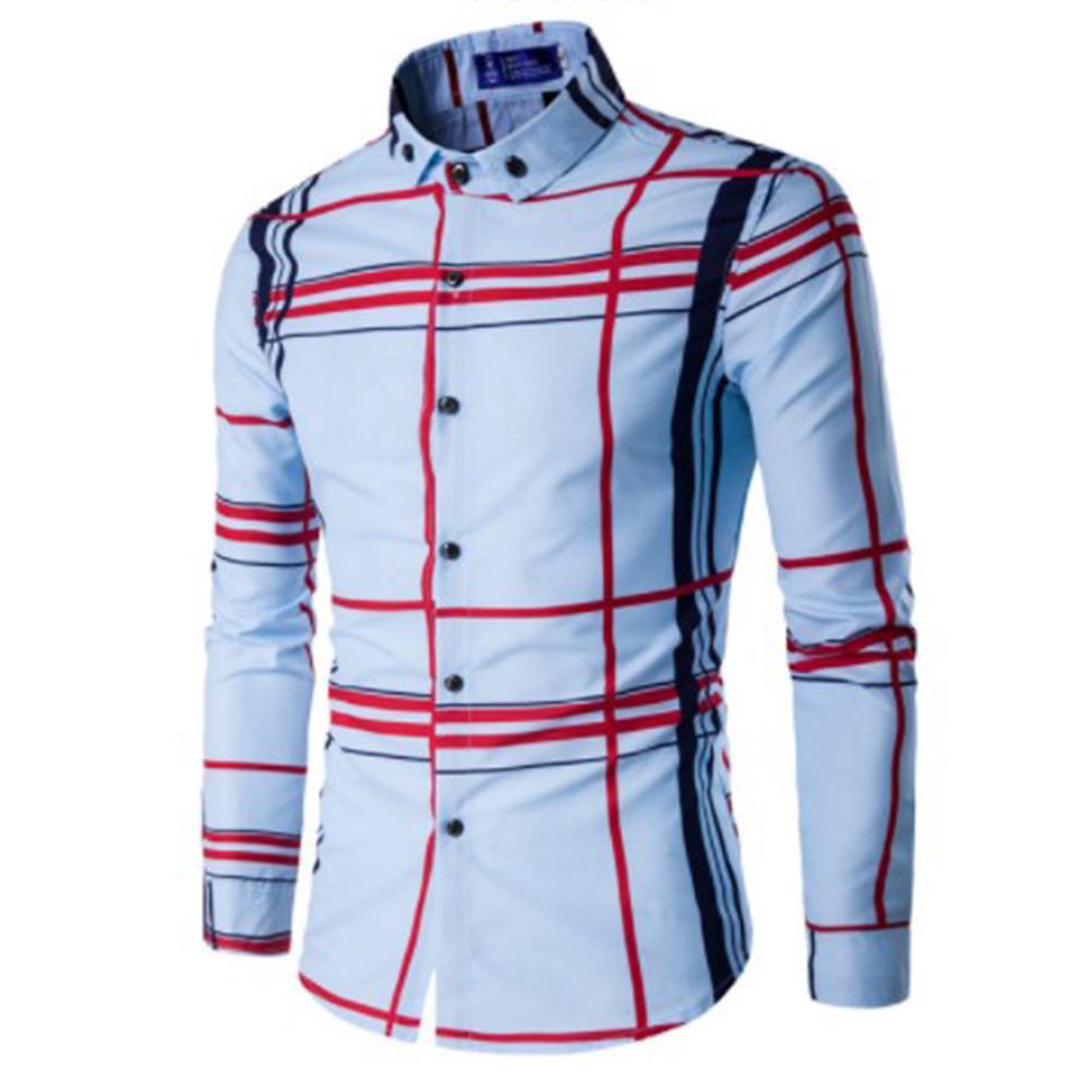 Men Fashion Digital Print Large Plaid Long Sleeve Shirt Tops sky blue_M