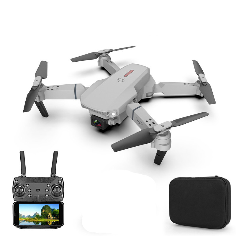E88 pro drone 4k HD dual camera visual positioning 1080P WiFi fpv drone height preservation rc quadcopter Gray 4k dual camera 3 batteries