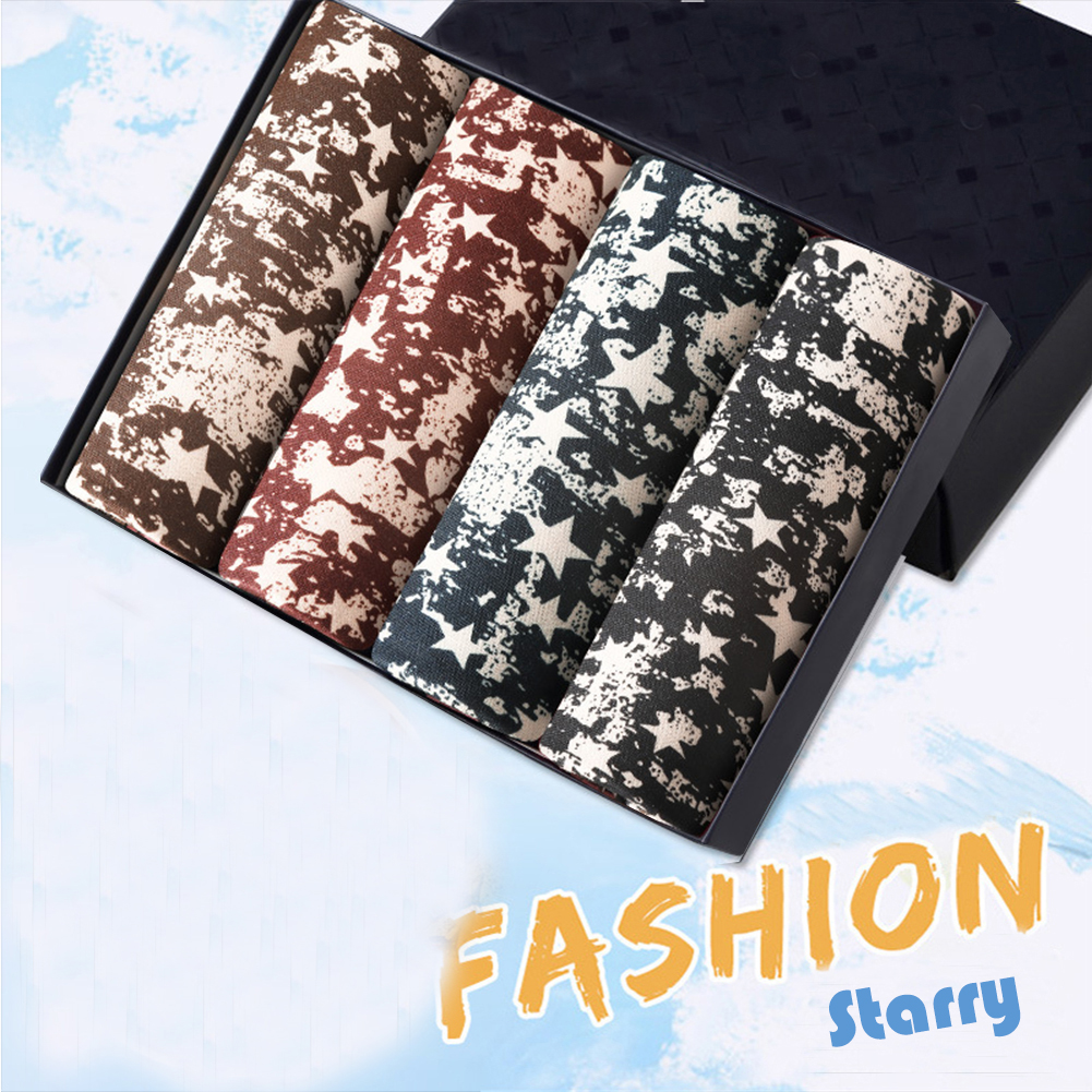 4pcs/set Man Underwear Box-packed Fashion Breathable Colorful Boxers stars_XL