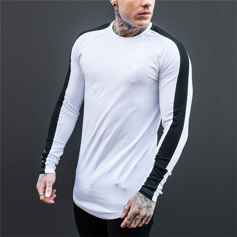Unisex Round Collar Long Sleeve T-shirt Stitching T-shirt White black_XL