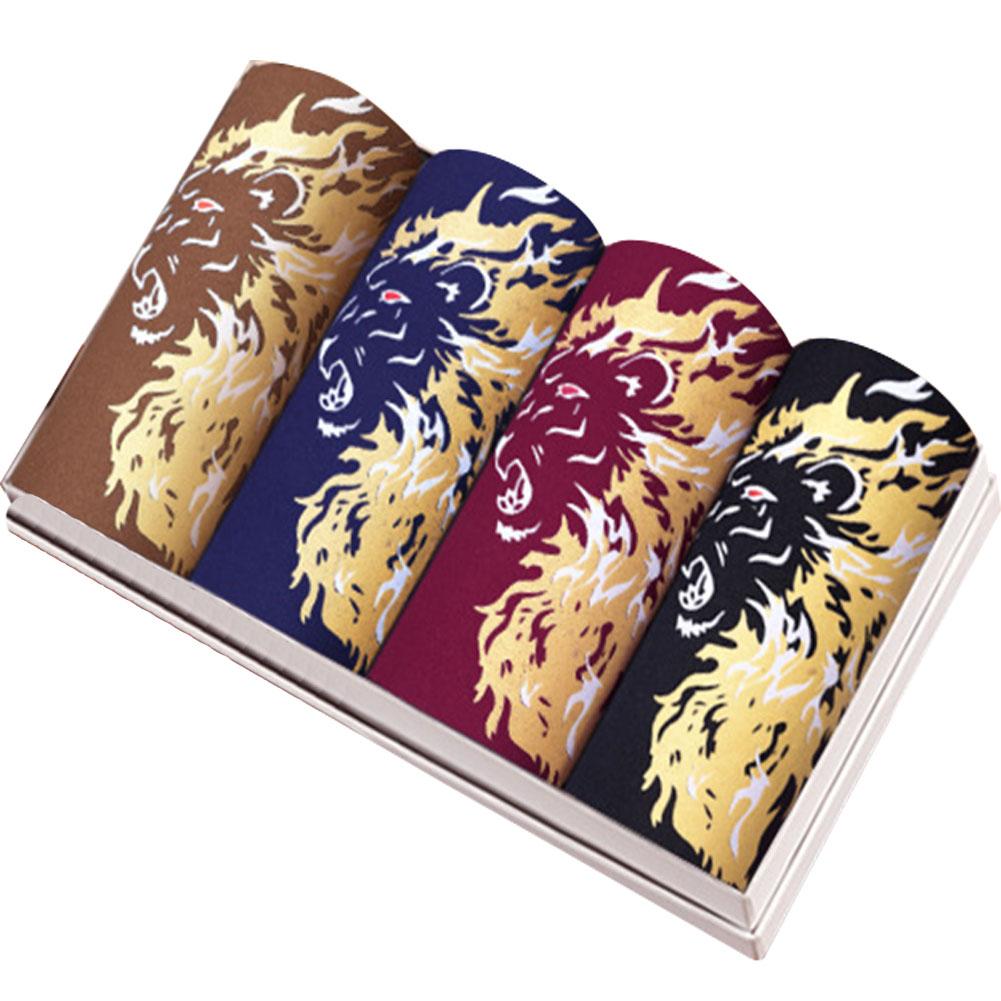 4pcs/set Man Middle Waist Underwear Breathable Bamboo Fiber Dragon Pattern Boxers 4 colors, 4 boxes_XXL