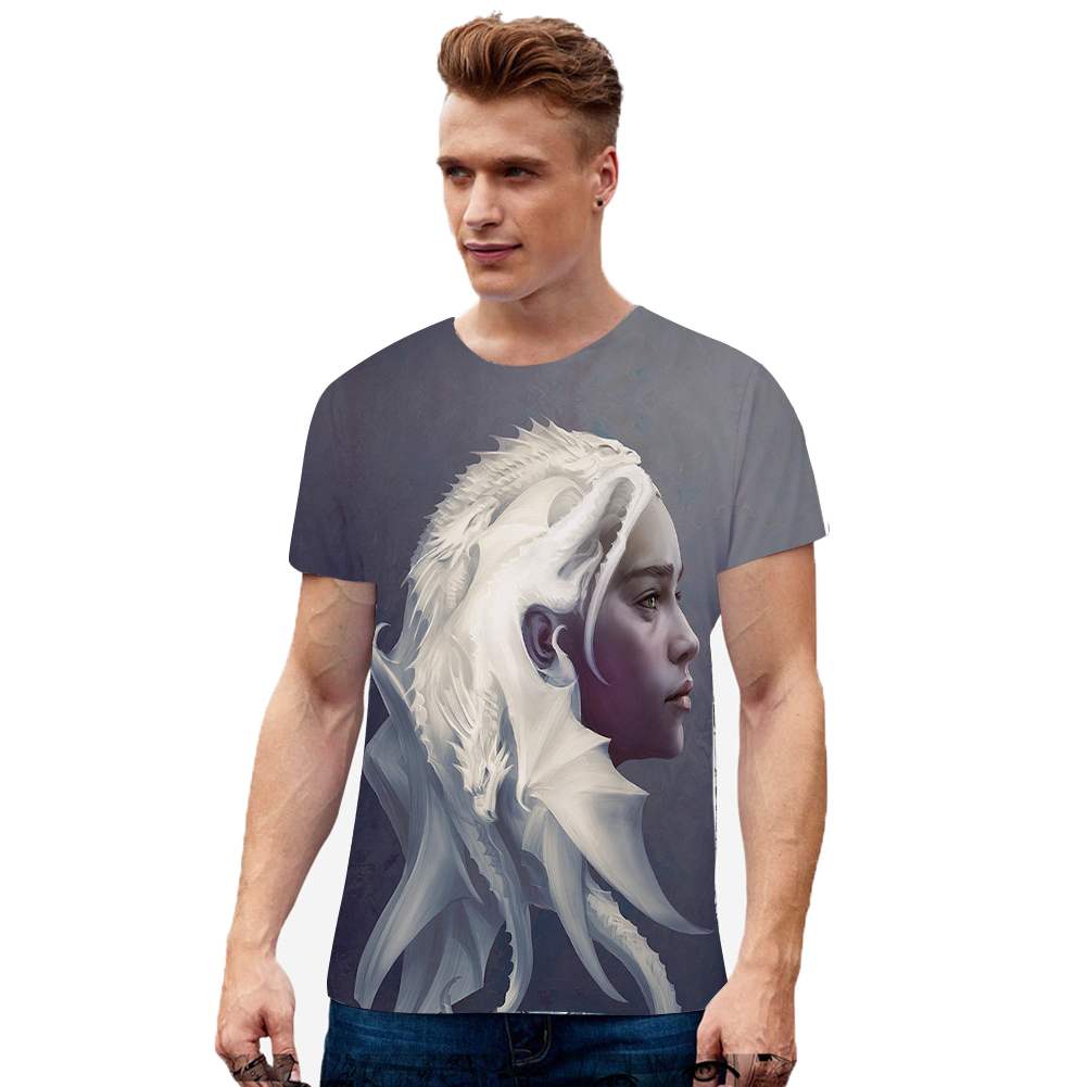 Summer Fashion Short Sleeve Game of Thrones 3D Digital Printing T-shirt for Men Women C style_M