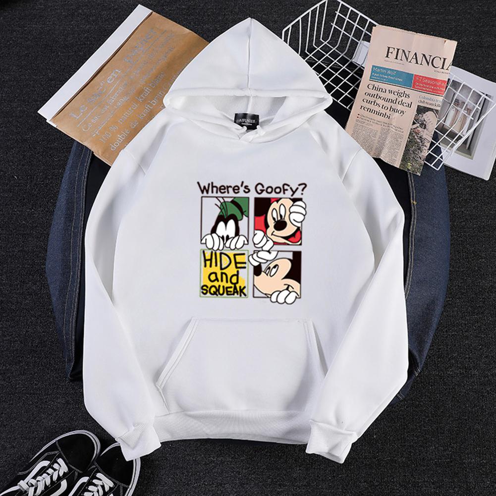 Men Women Cartoon Hoodie Sweatshirt Micky Mouse Thicken Autumn Winter Loose Pullover White_L