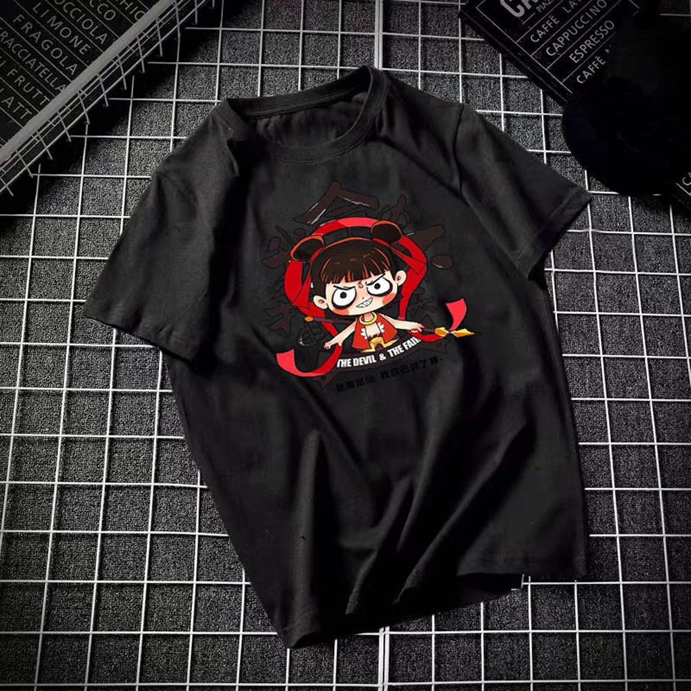 Male Leisure Top with Nezha Cartoon Pattern Decorated Shirt Casual Pullover for Man Nezha black_XXL