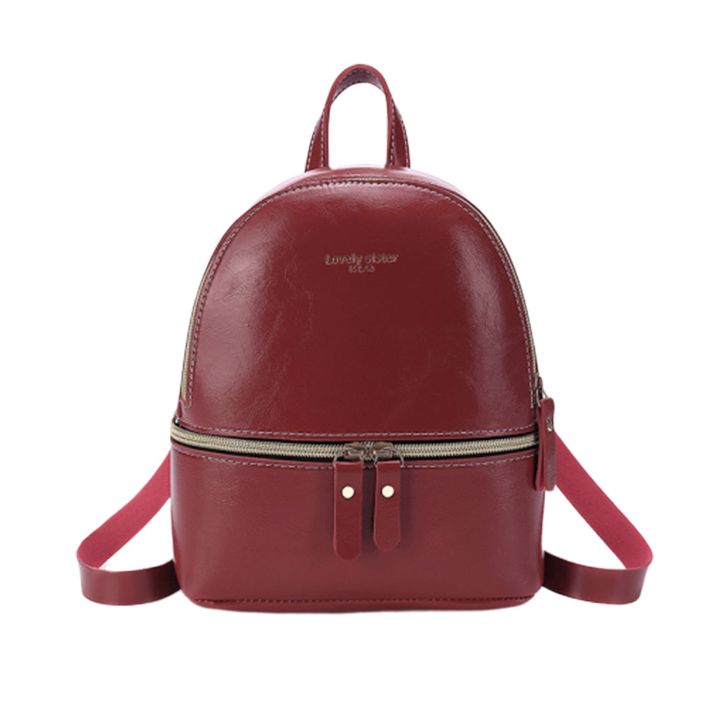 Woman Fashion  Leisure Handbag Chic Backpack PU Red wine