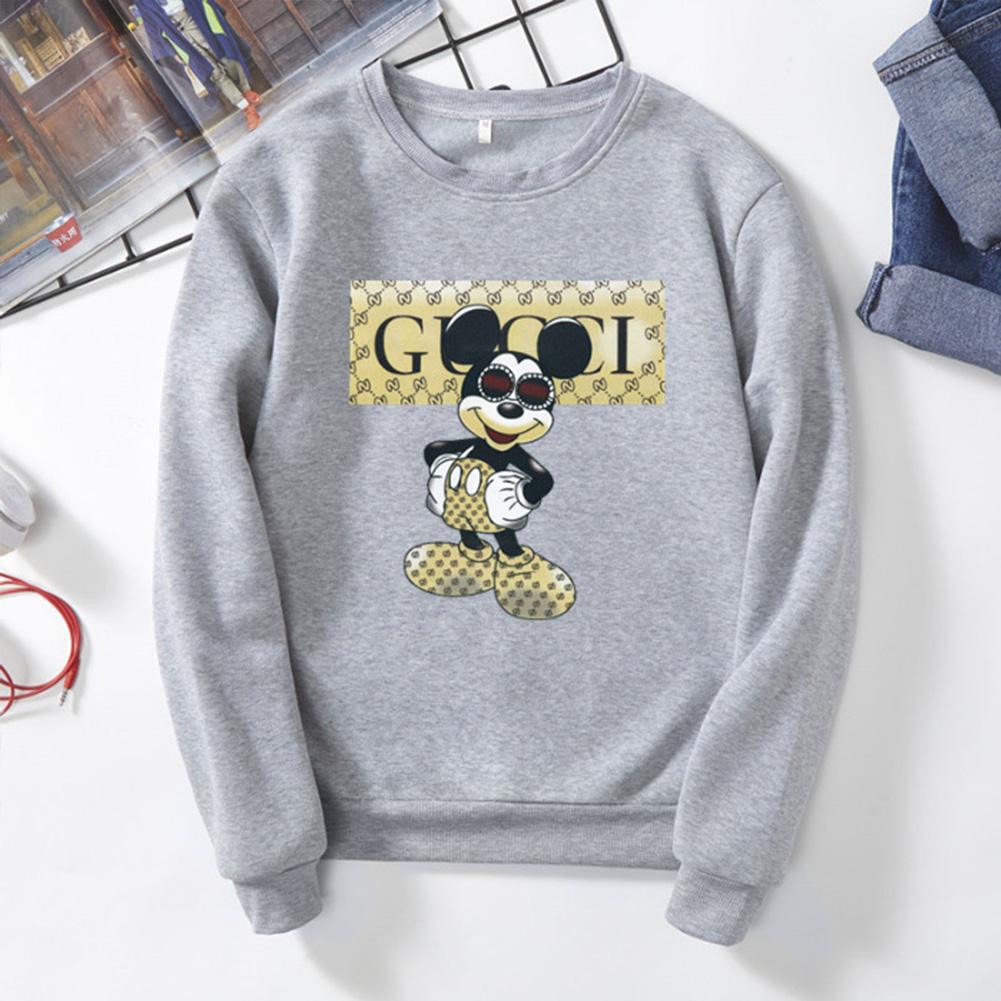 Men Sweatshirt Cartoon Micky Mouse Autumn Winter Loose Couple Wear Student Pullover Gray_XXXL