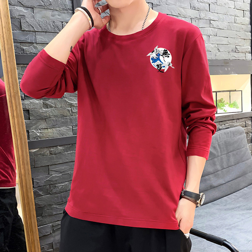 Men Autumn and Winter Long Sleeve Round Neckline Print Solid Color Cotton T-Shirt Tops red_M