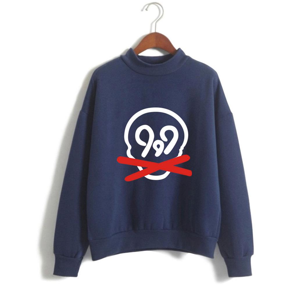 Men Women Printed Fashion Casual Turtleneck Sweater Long Sleeve Tops 4#_2XL