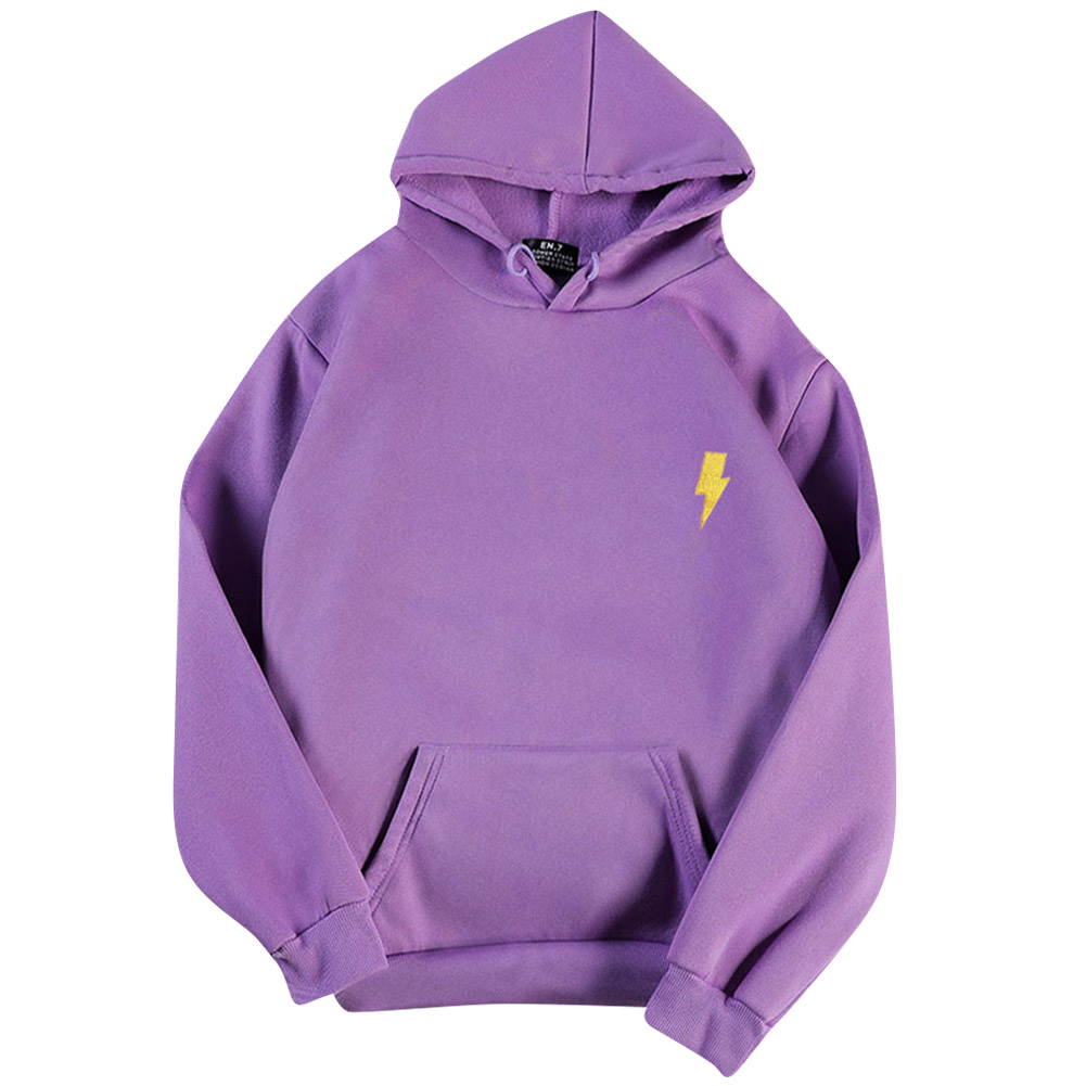 Men Women Hoodie Sweatshirt Flash Thicken Velvet Loose Autumn Winter Pullover Tops Purple_S