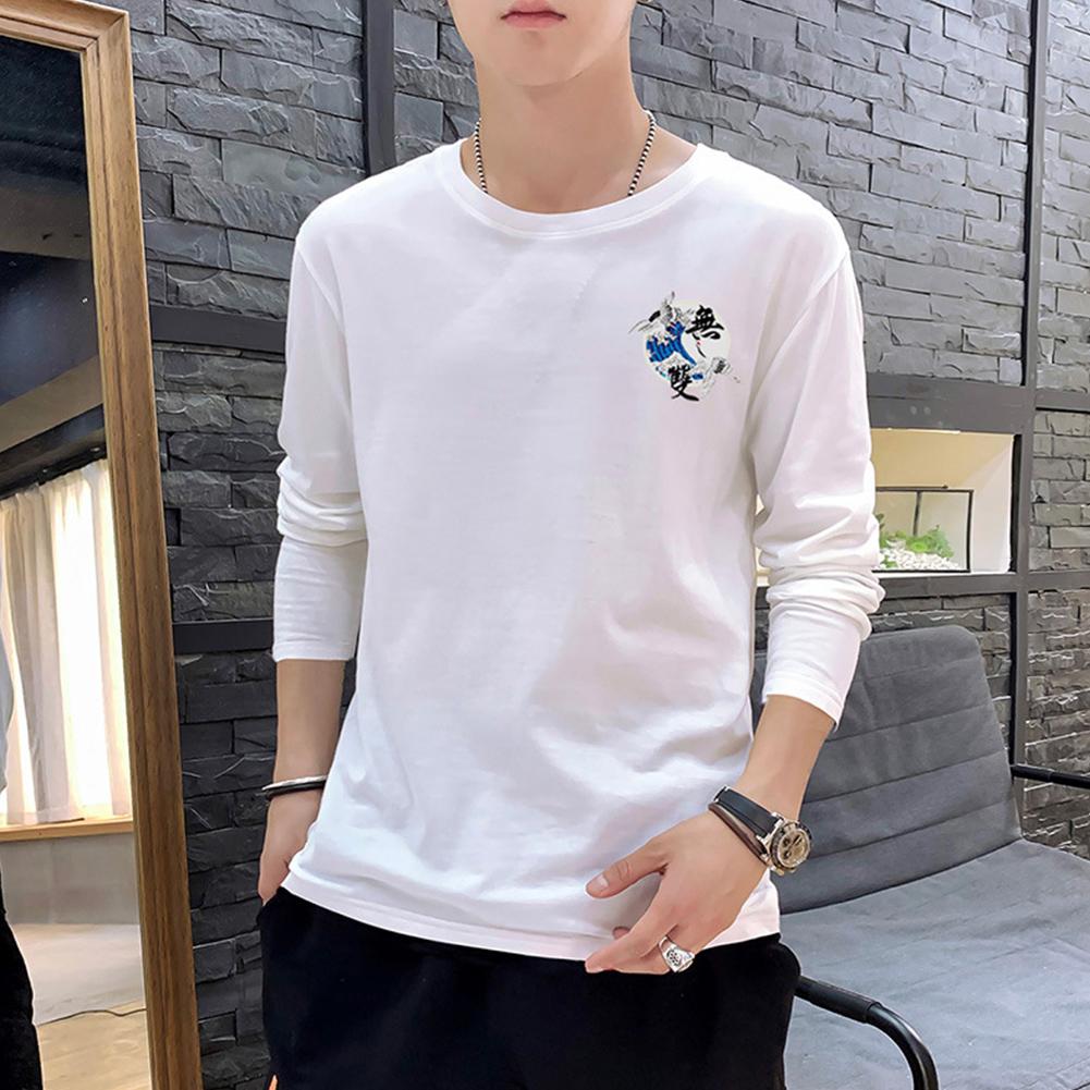 Men Autumn and Winter Long Sleeve Round Neckline Print Solid Color Cotton T-Shirt Tops white_XXXXL