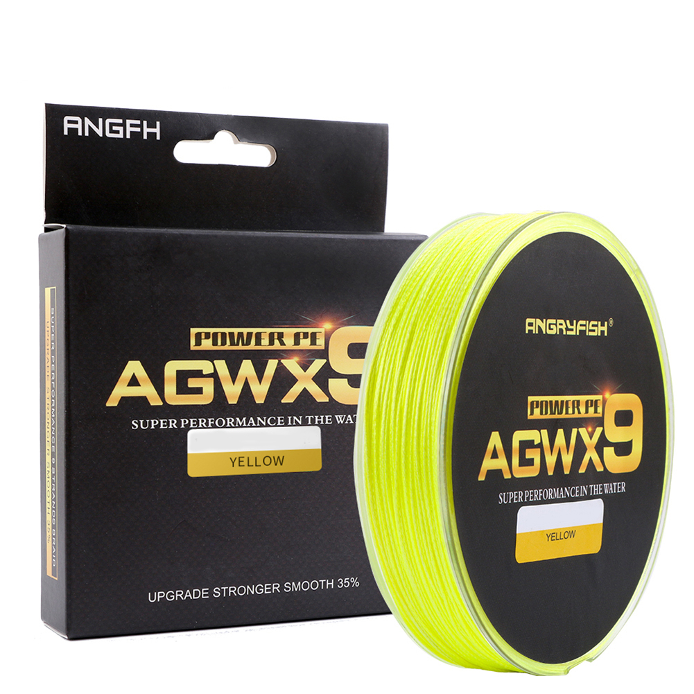 ANGRYFISH Diominate X9 PE Line 9 Strands Weaves Braided 300m/327yds Super Strong Fishing Line 15LB-100LB Yellow 1.0#: 0.16mm/25LB
