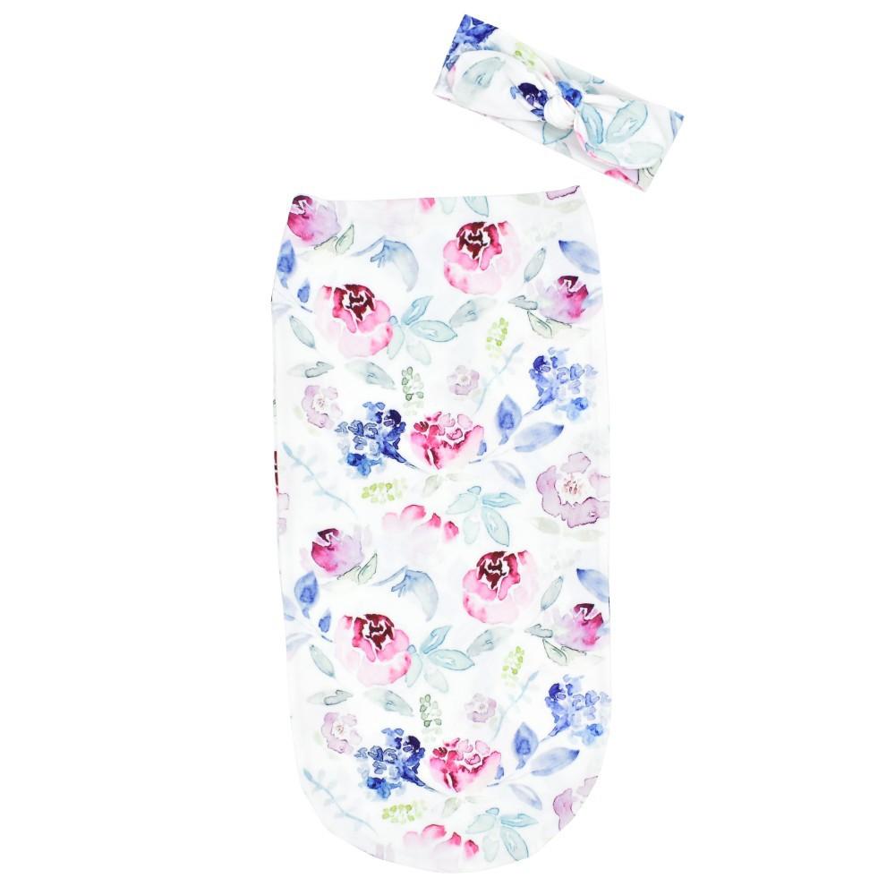2 Pcs/set Baby Sleeping Bag  Cocoon-shape Anti-startle Anti-kick Sleeping Bag + Headband Flowers
