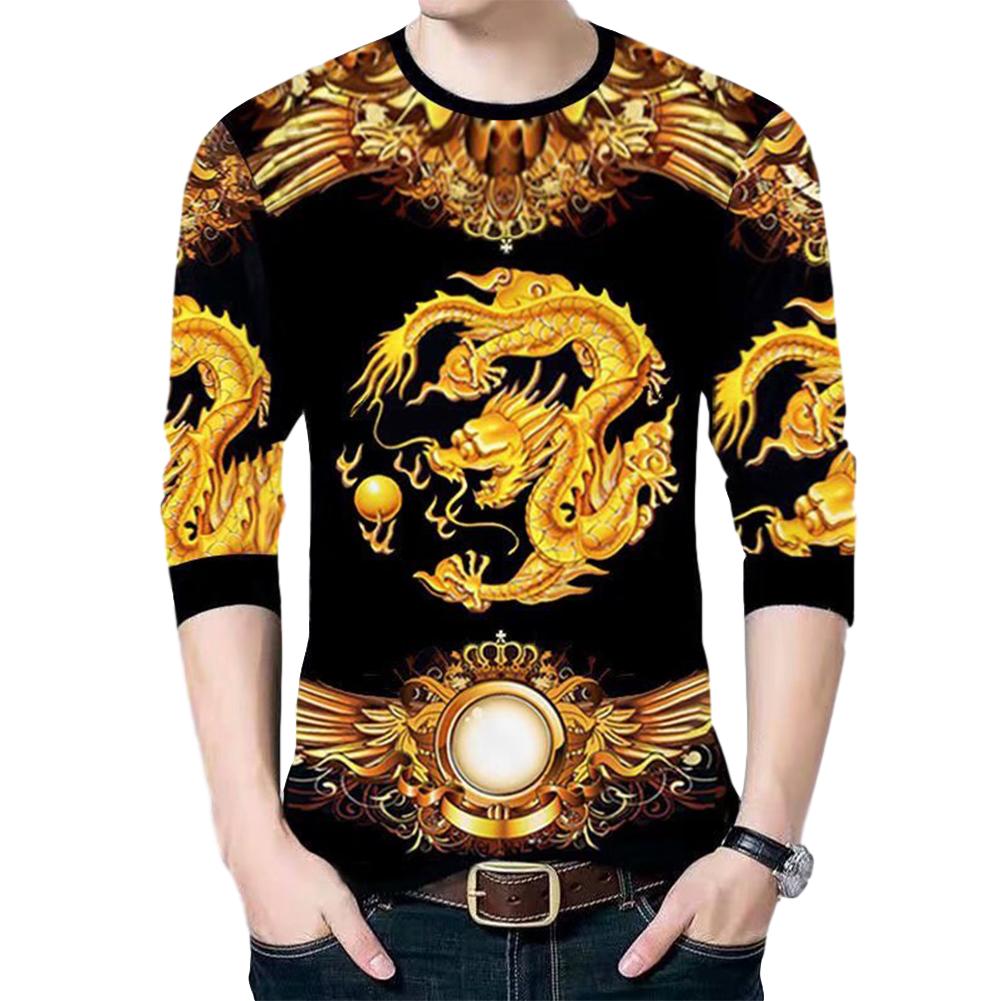 Men's T-shirt Dragon Pattern Round Neck Casual Long-sleeved Shirt Chinese Dragon Long Sleeve#Top_L
