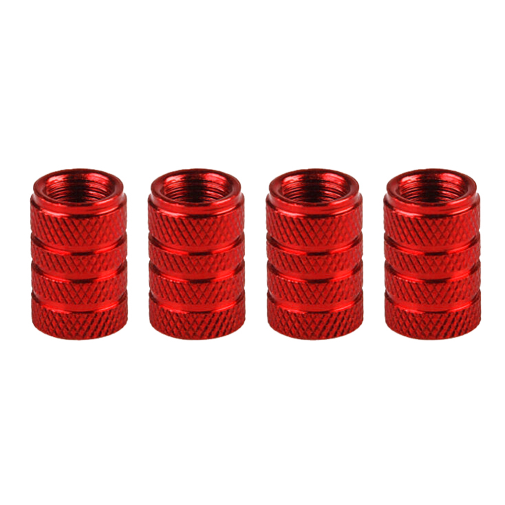 4pcs/set Car Tire Colorful Aluminum Alloy Valve Cap Wheel Valve Cover Dust Cap red