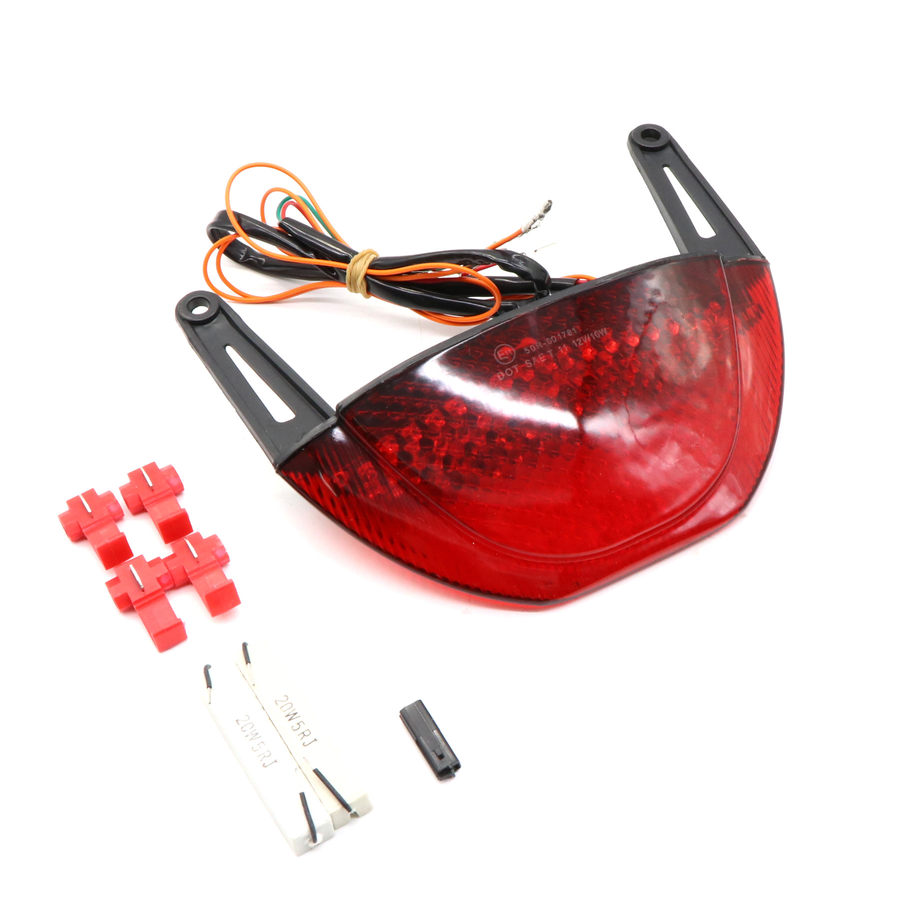 Motorcycle Rear Tail Light Brake Turn Signal Integrated LED Taillight for HONDA CBR600RR 08-12 Red shell