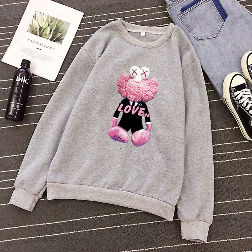 KAWS Men Women Hoodie Sweatshirt Cartoon Love Doll Autumn Winter Thicken Loose Pullover Gray_XXXL