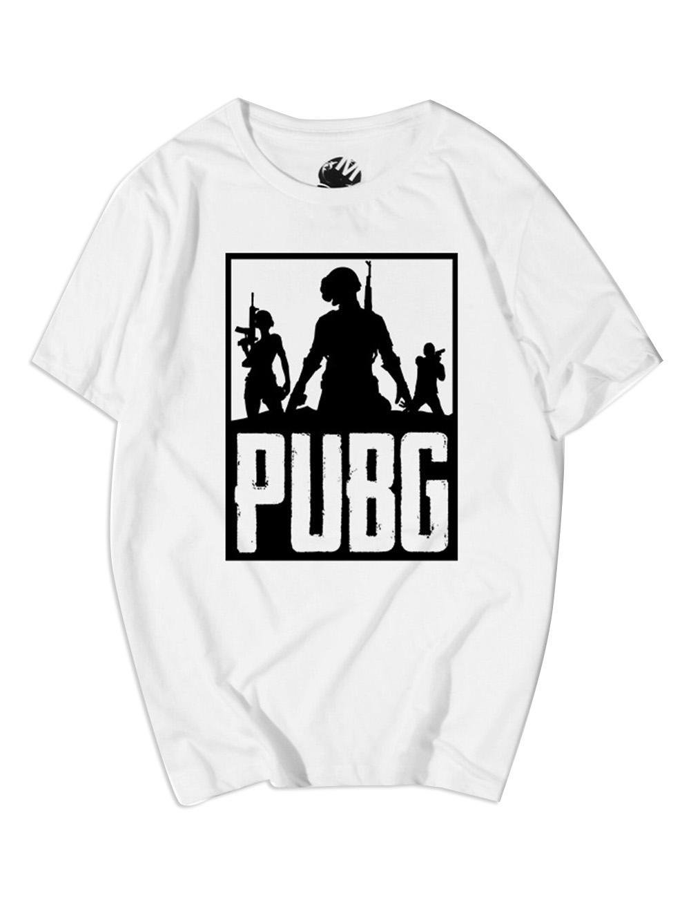 Men Fashion Round Neck Short Sleeve PUBG Game Cartoon Pattern T-shirt