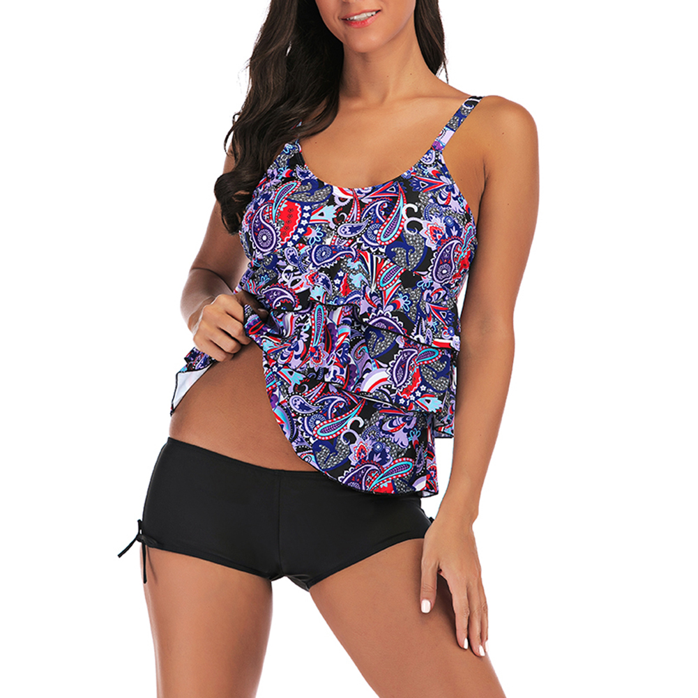 Women Large Size Floral Printing Boxers Top Bikini Set for Swimming purple_3XL