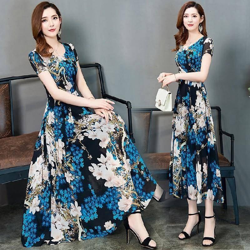 Female Summer Waisted Floral Pattern Short-sleeve Printing Dress  Blue flower_L