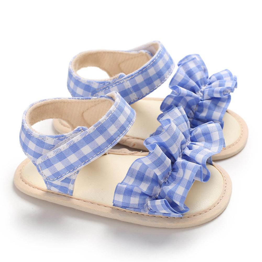 Cute Plaid Soft Rubber Sole Princess Sandals for Baby Infant Girls blue_Inside length 11 cm
