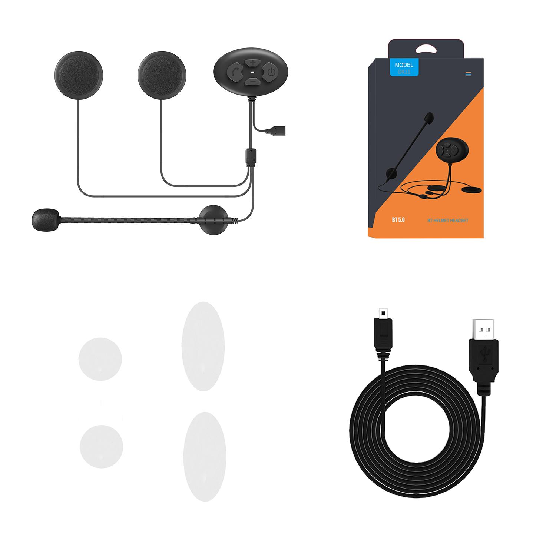 DK11 Bluetooth Headset ABS Motorcycle Helmet IP54 Waterproof Wireless Handsfree Stereo Riding Earphone black