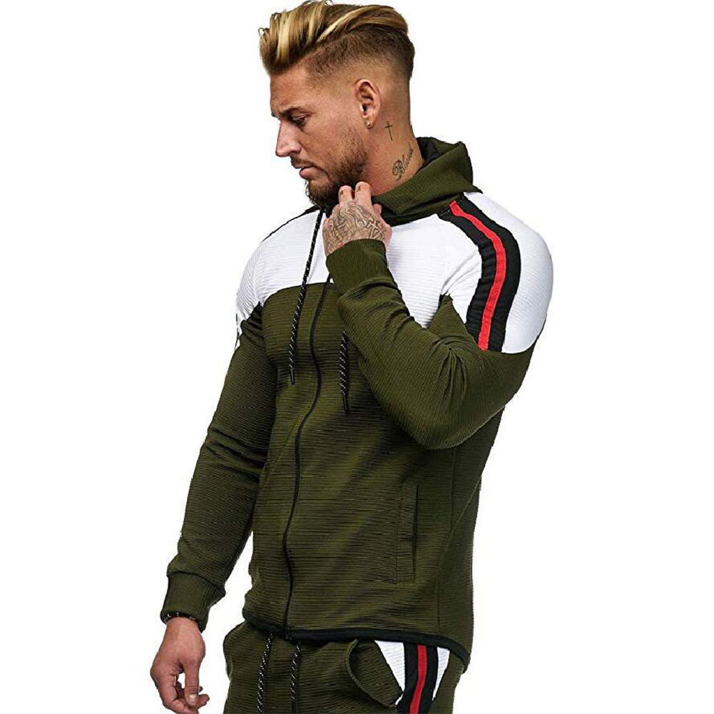 Men Autumn Winter Zipper Striped Patchwork Long Sleeve Hoodies for Sports Casual  Army Green_L